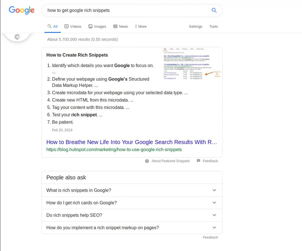 ریچ اسنیپت-گوگل -نتایج جست و جوب